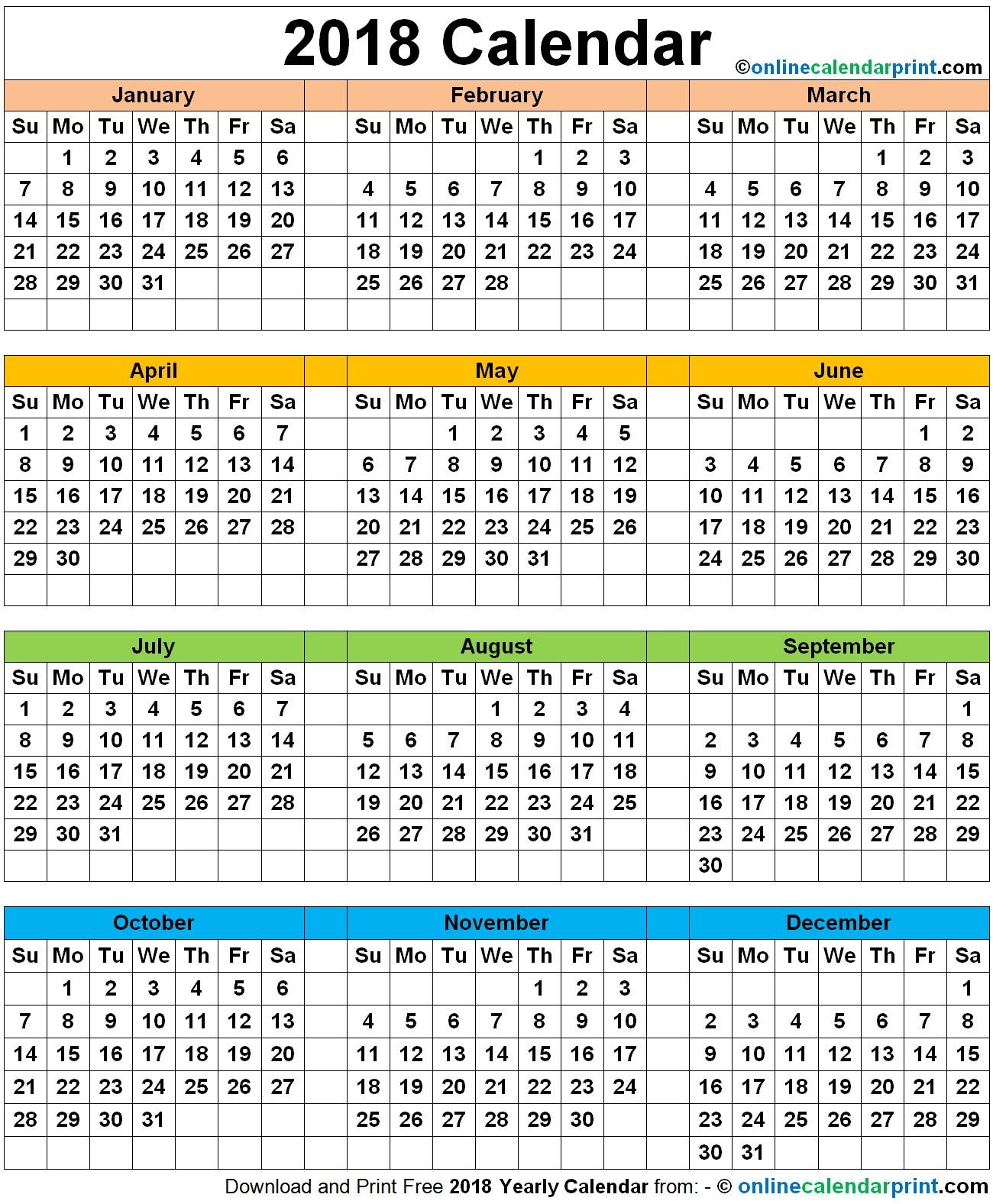 12 month calendar printable one page 2018 2018 12 Month Calendar Image erdferdf
