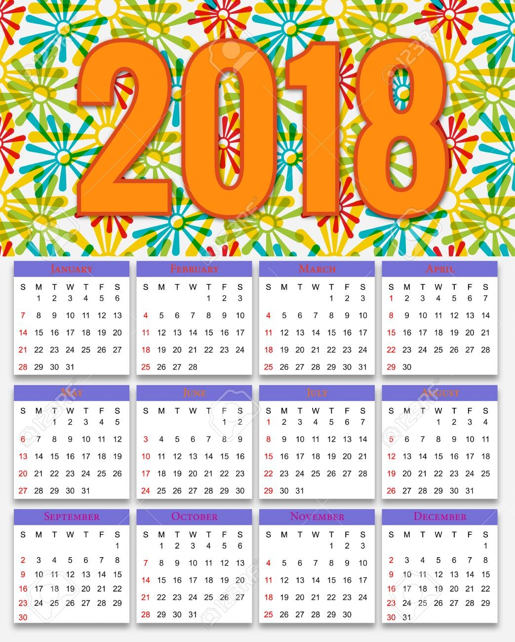 12 months calendar design 2018 printable and editable royalty free 2018 12 Month Calendar Image erdferdf