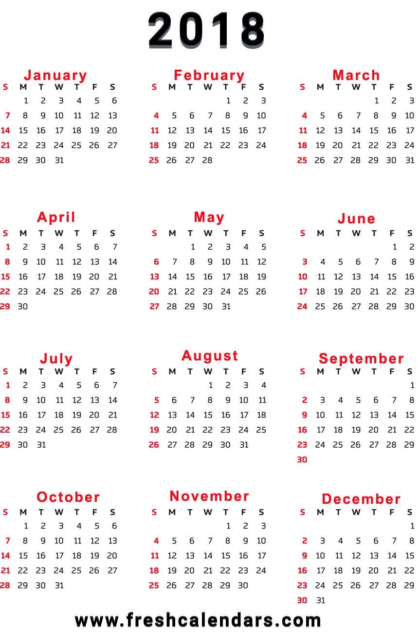 20 printable 2018 calendar templates 2018 12 Month Calendar Image erdferdf
