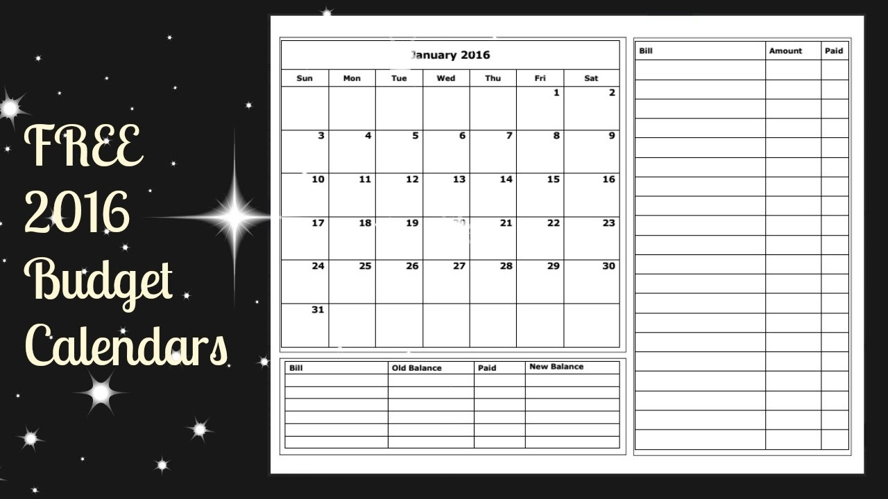 2016 budget calendar free printable youtube   Monthly Bill Calendar For A Year erdferdf