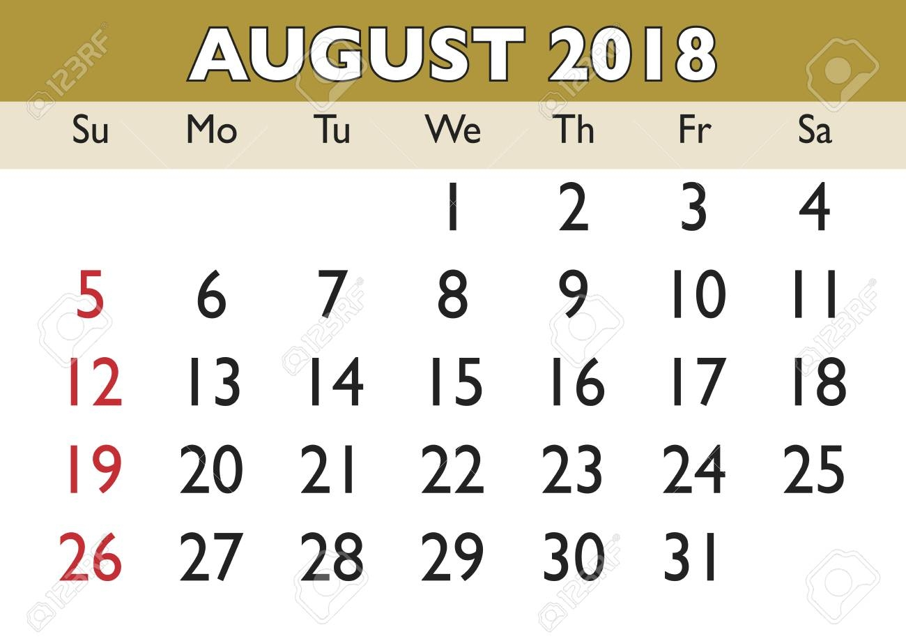 2018 calendar august month vector printable calendar monthly Agust Month Printable Calendars 2018 erdferdf