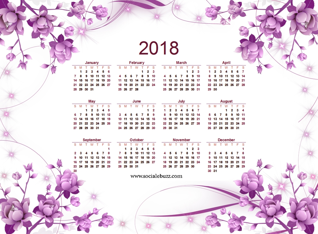 2018 Printable Calendar Pretty By Year