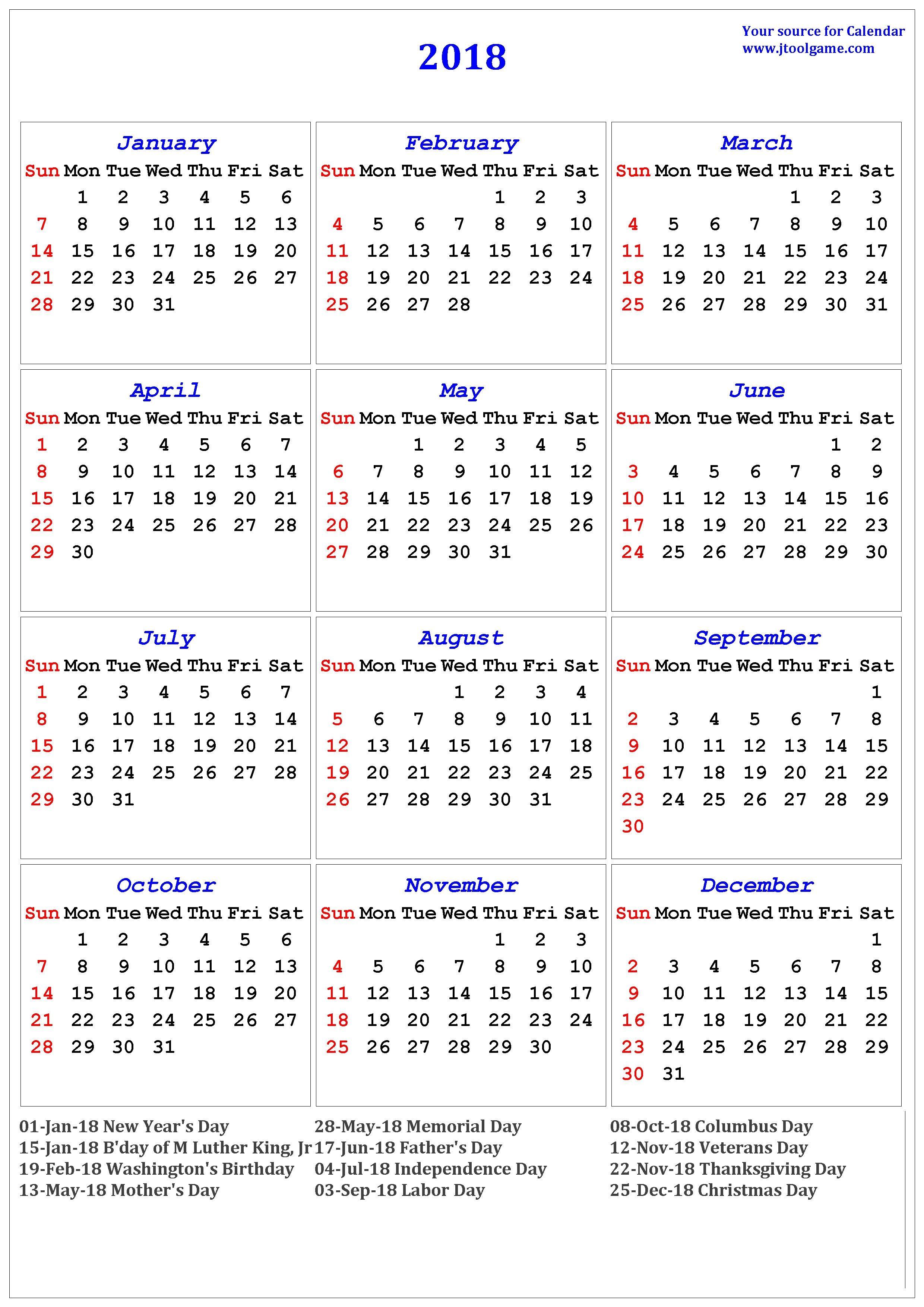 2018 calendar printable in multiple colors outstanding with holidays 2018 Calendar With Holidays Usa Printable erdferdf