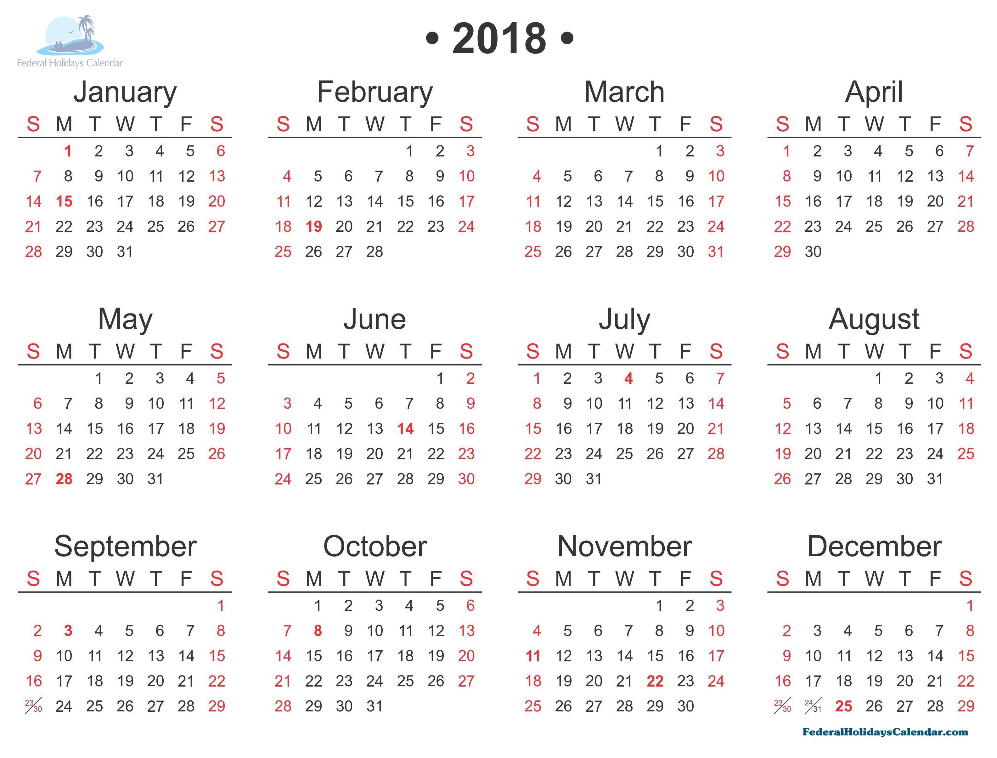 2018 calendar printable template with holidays usa uk canada 2018 Calendar With Holidays Usa Printable erdferdf