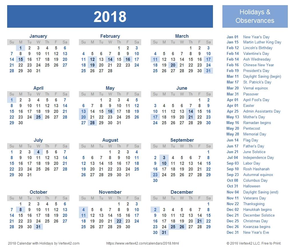 2018 calendar templates and images 2018 Calendar With Holidays Usa Printable erdferdf