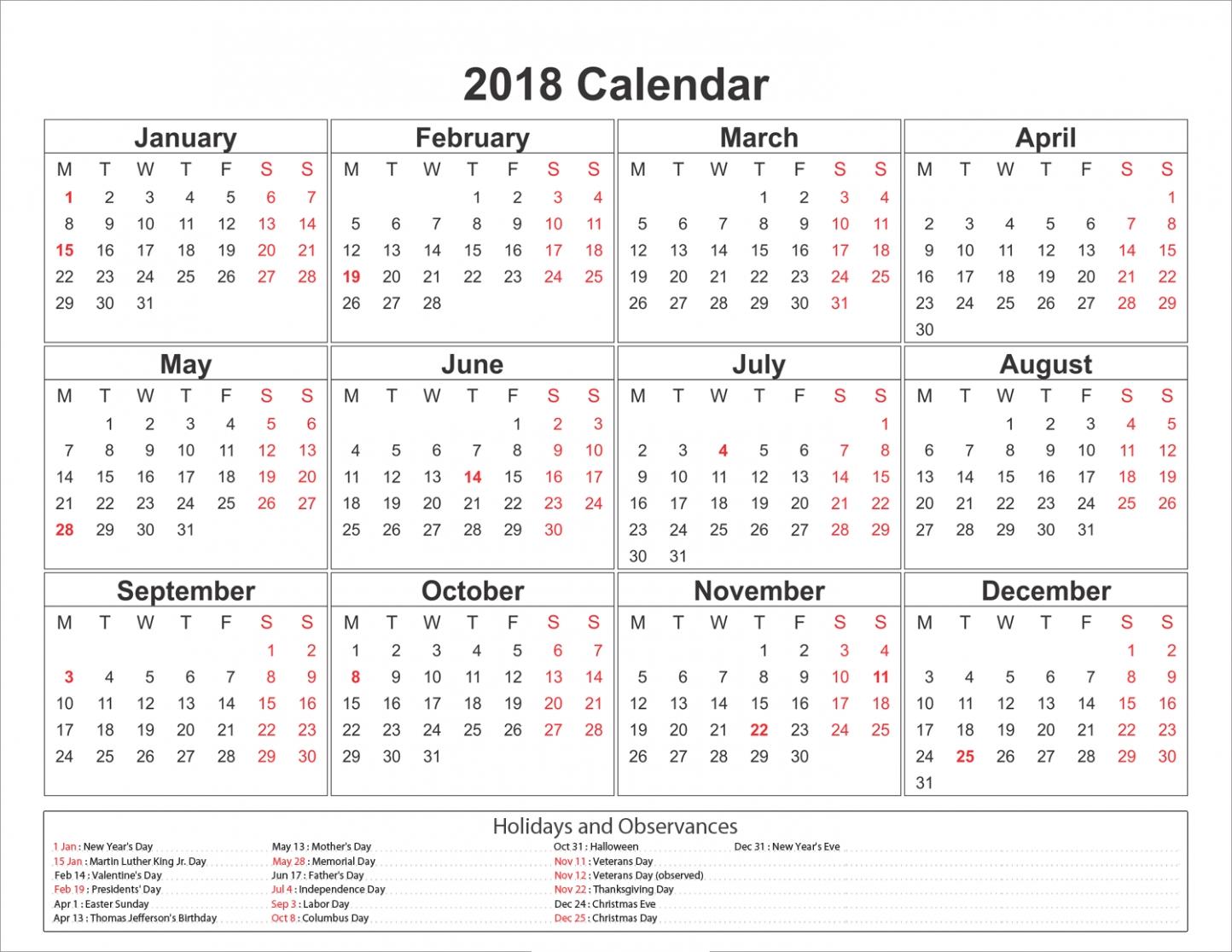 2018 calendar with holidays usa printable yearly calendar 2018 Calendar With Holidays Usa Printable erdferdf