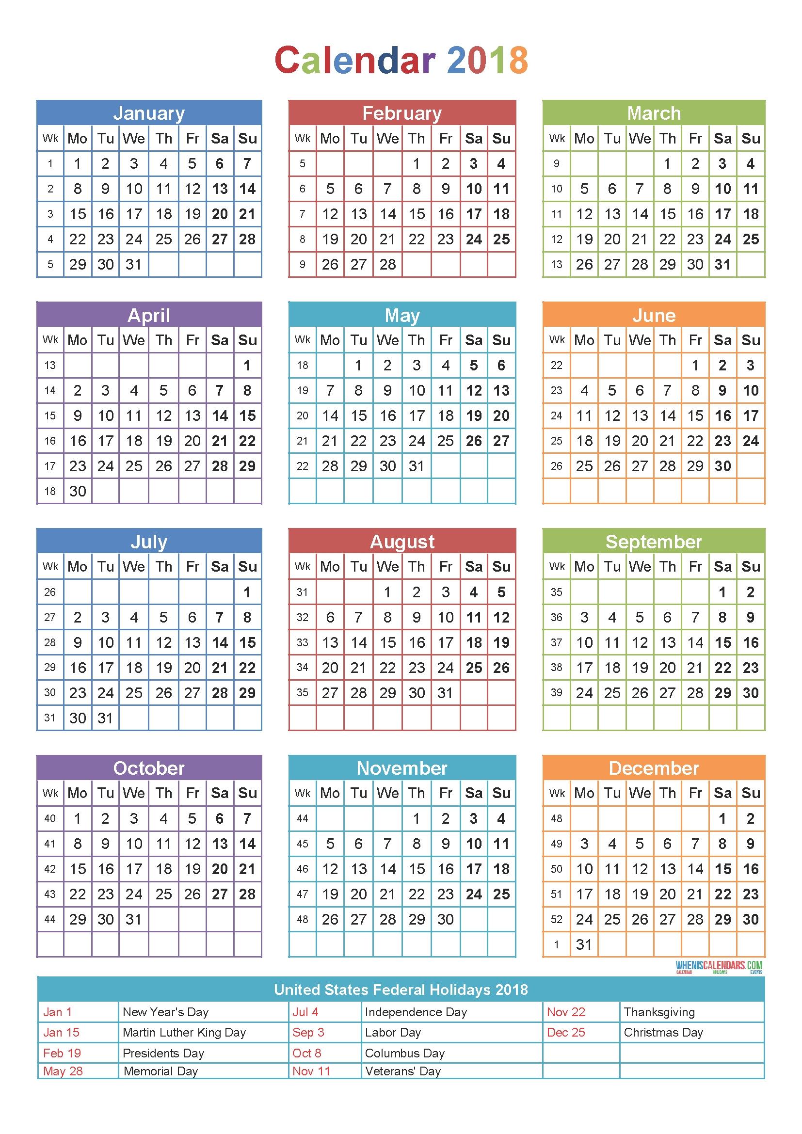 2018 holidays printable calendar free download usa india spain 2018 Calendar With Holidays Usa Printable erdferdf