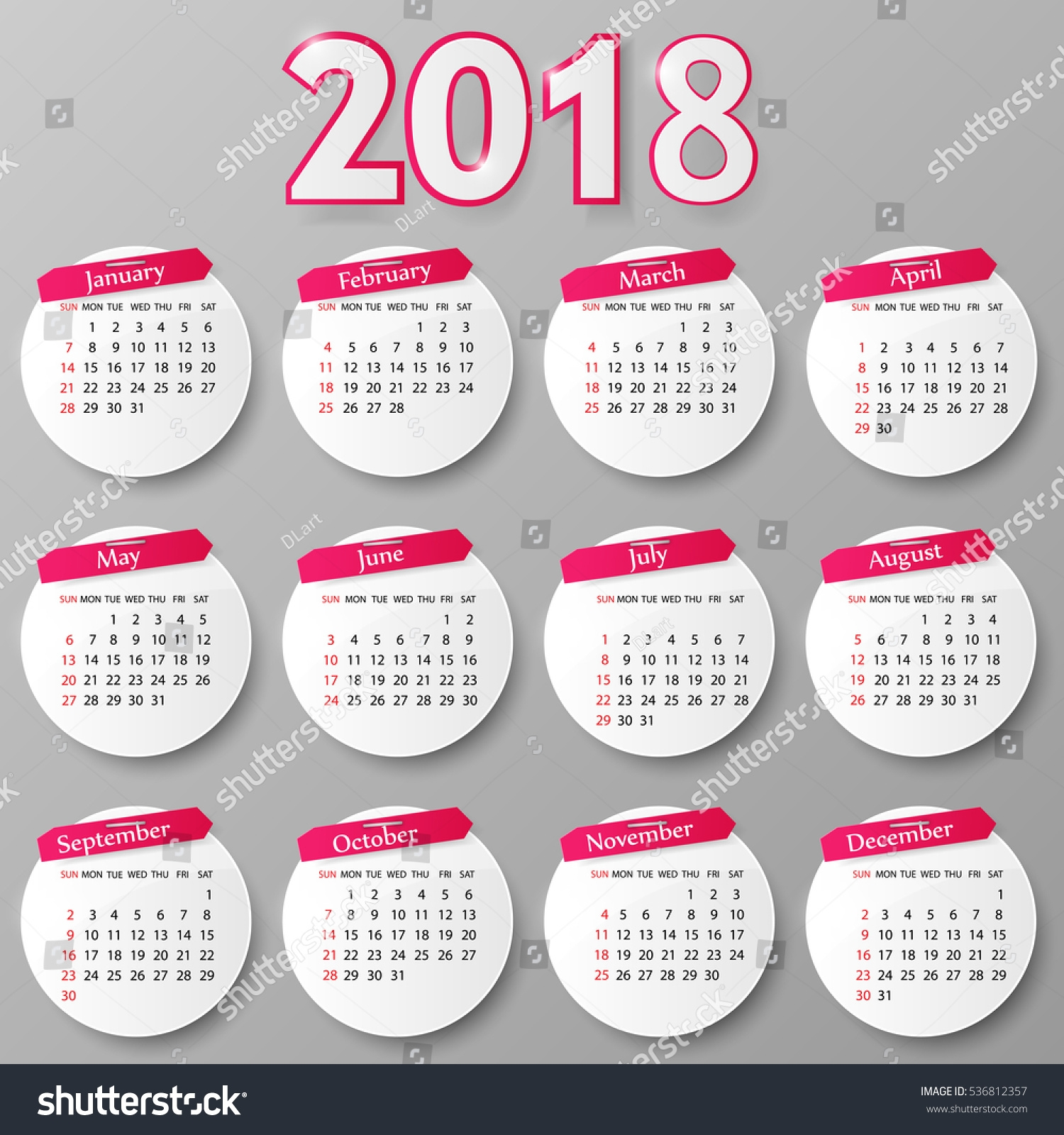 2018 year calendar design vector illustration stock vector 2018 Calendar 2018 Design erdferdf