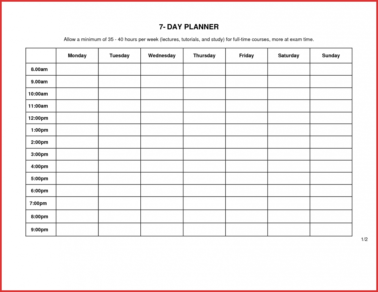 7 day weekly schedule template physicminimalisticsco 7 Day Weekly Planner Template Printable erdferdf