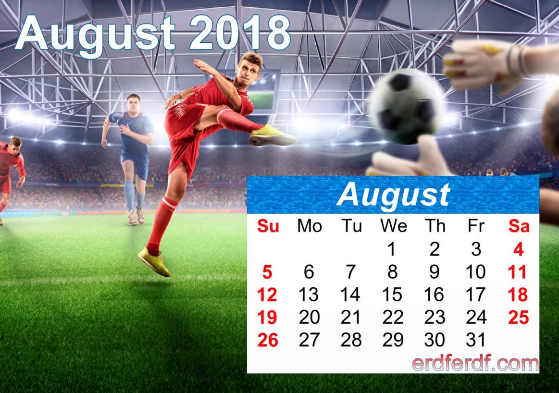 Calendar August 2018 UK Football Download