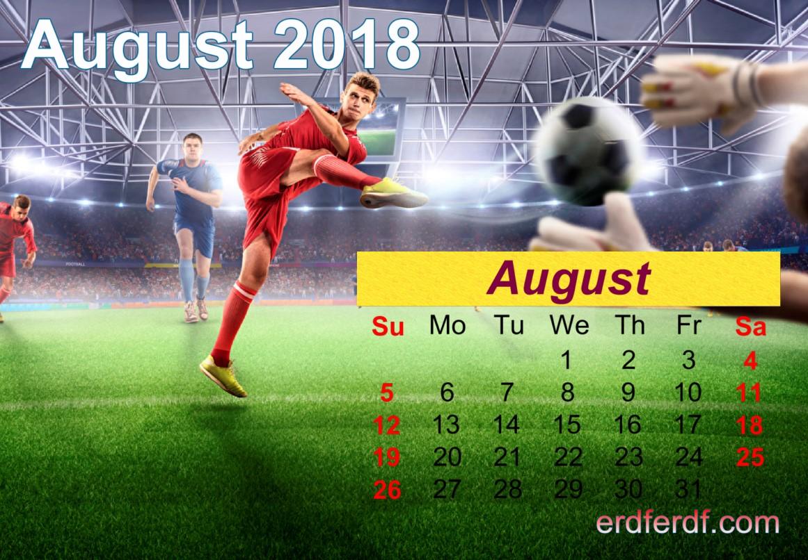 Calendar August 2018 UK Football Printable