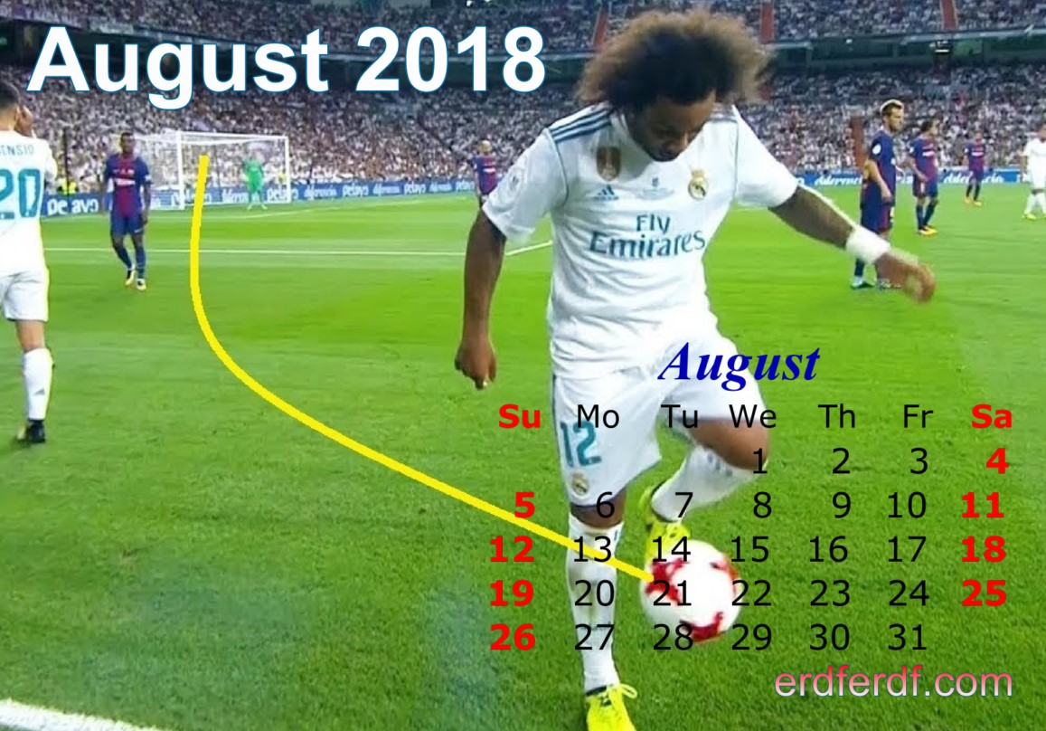 Calendar August 2018 UK Football Printing