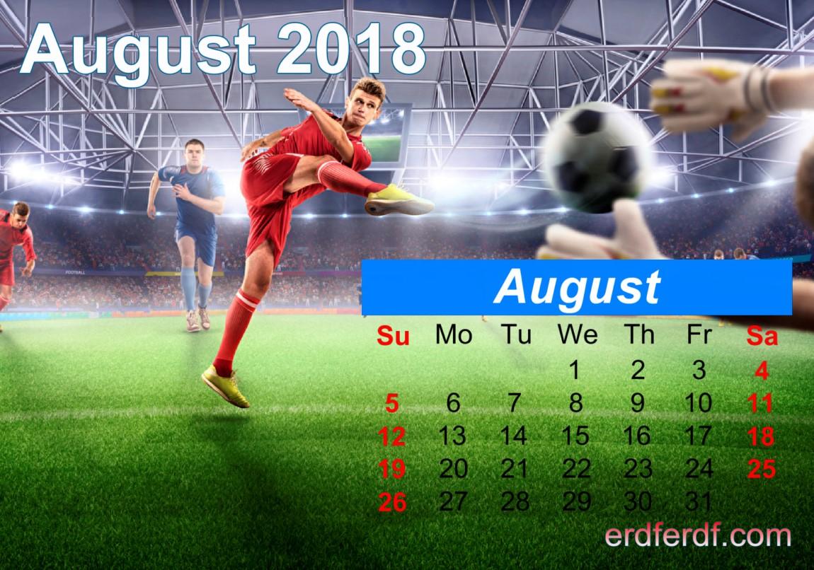 Calendar August 2018 UK Football Template