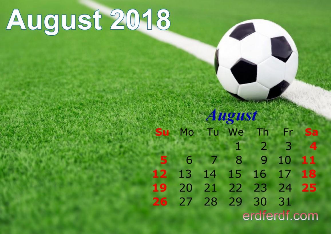 Calendar August 2018 UK Football Wallpaper