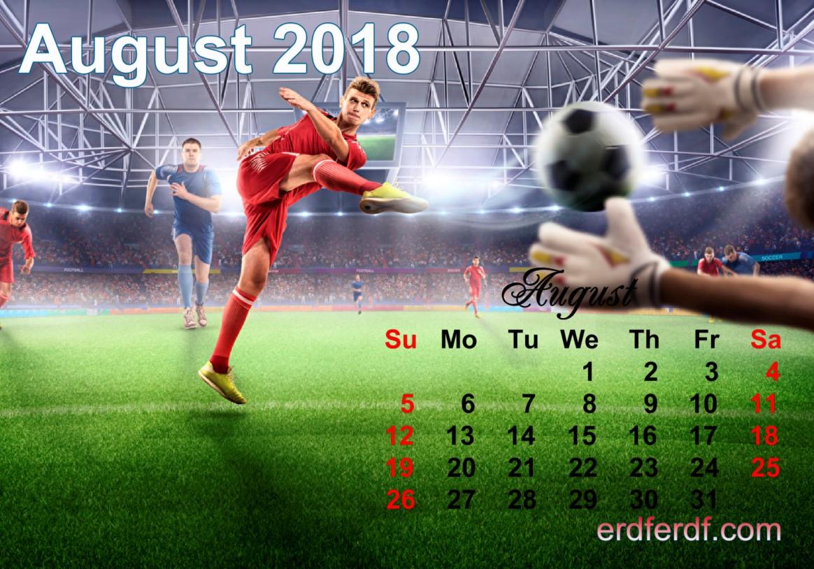 Calendar August 2018 UK Football