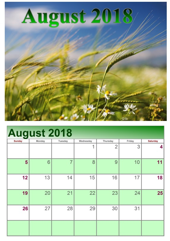 Calendar August 2018 UK Weather Download