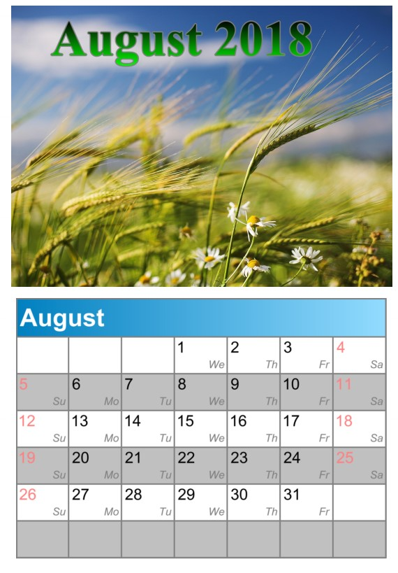 Calendar August 2018 UK Weather Image