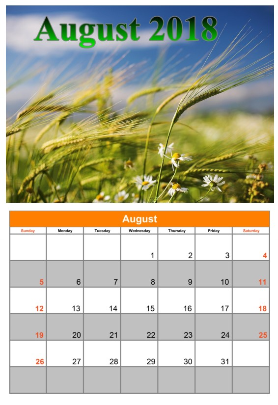 Calendar August 2018 UK Weather Printable