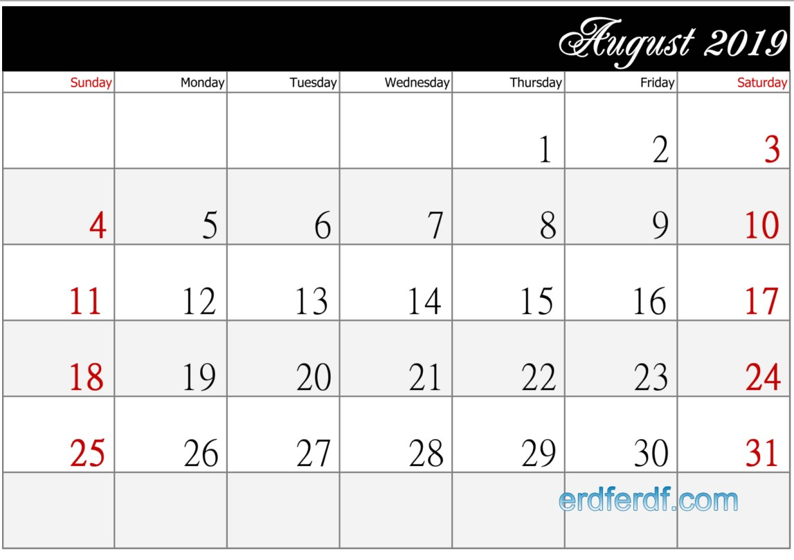 Calendar August 2018 UK Zip Code Printable Simple Black