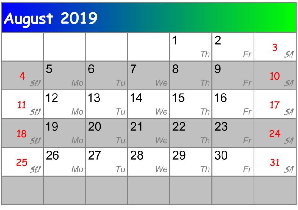 Calendar August 2018 UK Zip Code