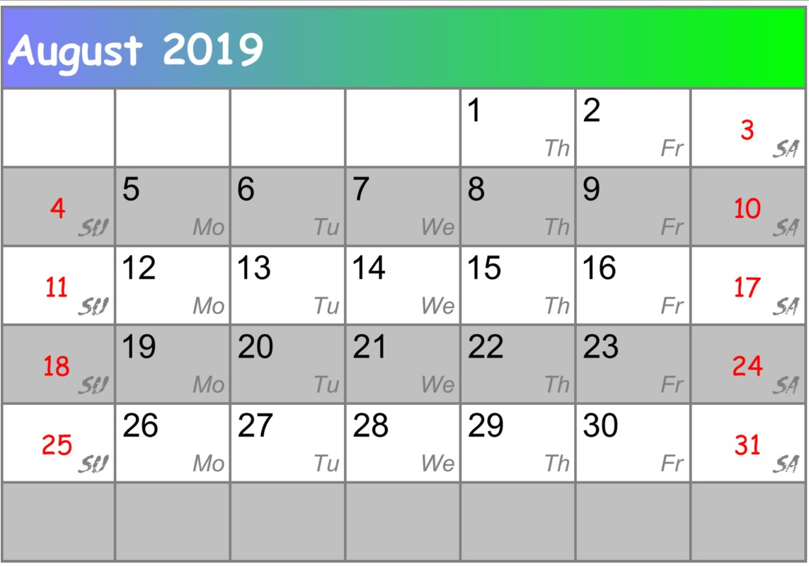 Calendar August 2018 UK zip code Template
