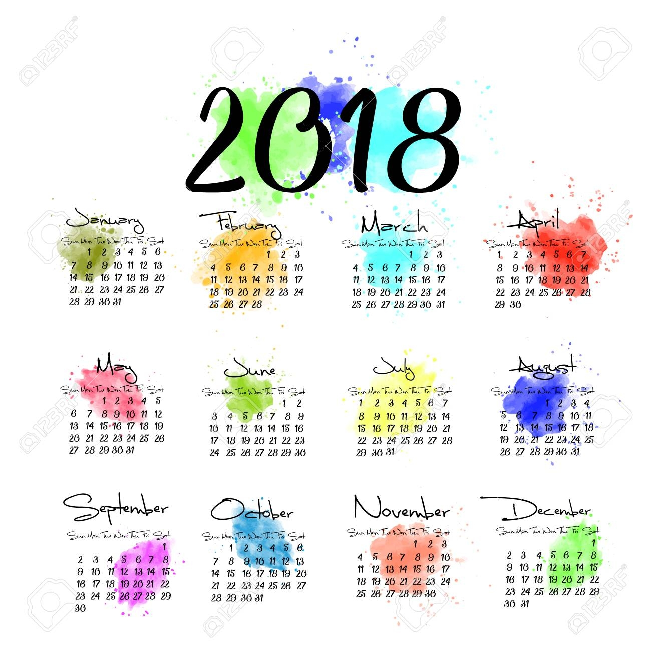 a scalable vector calendar for the year 2018 all on one page 2018 Calendar 12 Months On One Page erdferdf