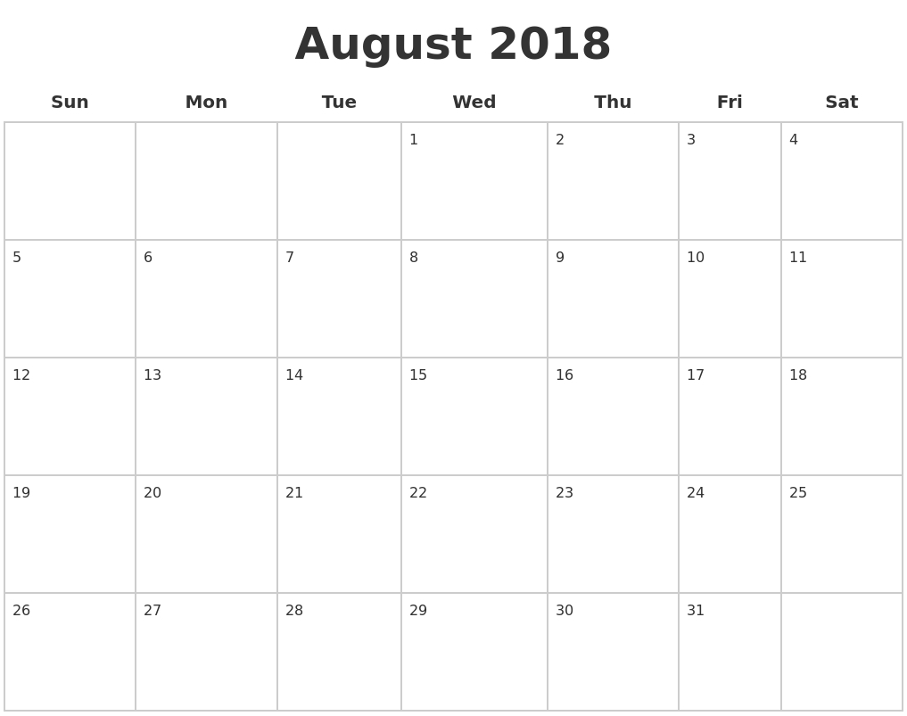 august 2018 blank calendar pages Calendar August 2018 Printable Worksheets erdferdf