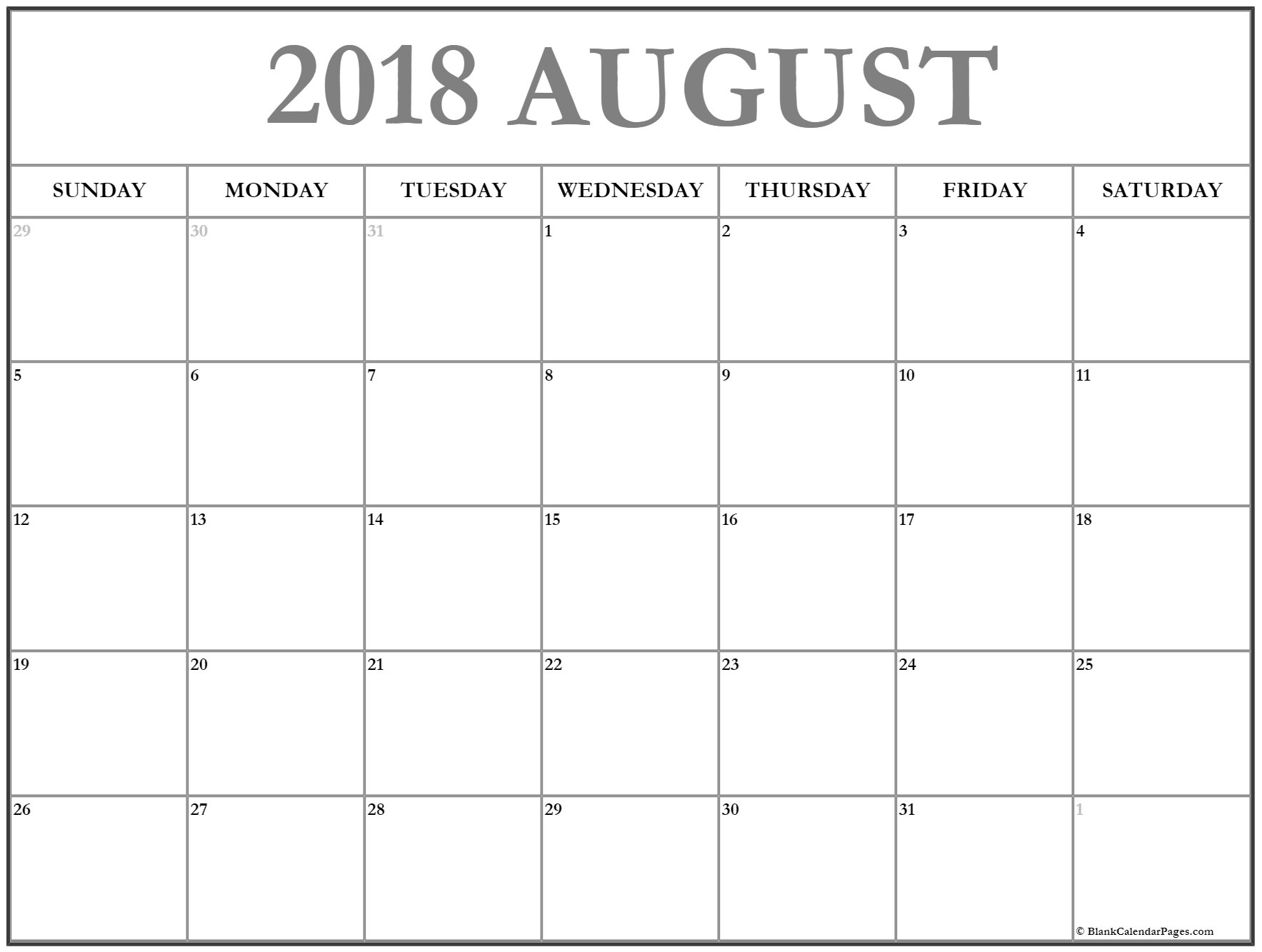 august 2018 calendar 51 calendar templates of 2018 calendars Blank Calendar Of August 2018 Full Page erdferdf