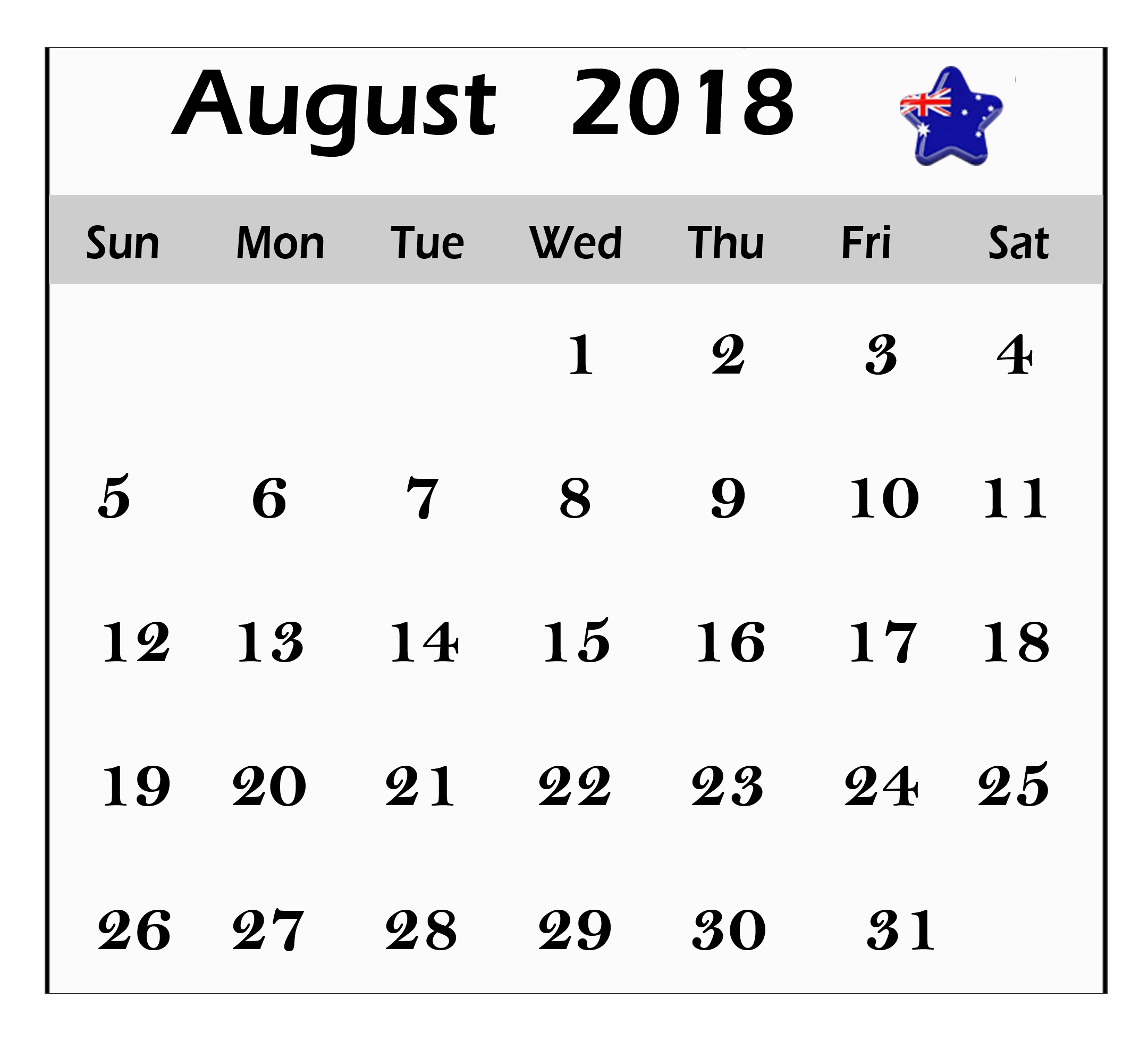 august 2018 calendar australia worksheet free printable calendar 2018 Calendar August 2018 Printable Worksheets erdferdf