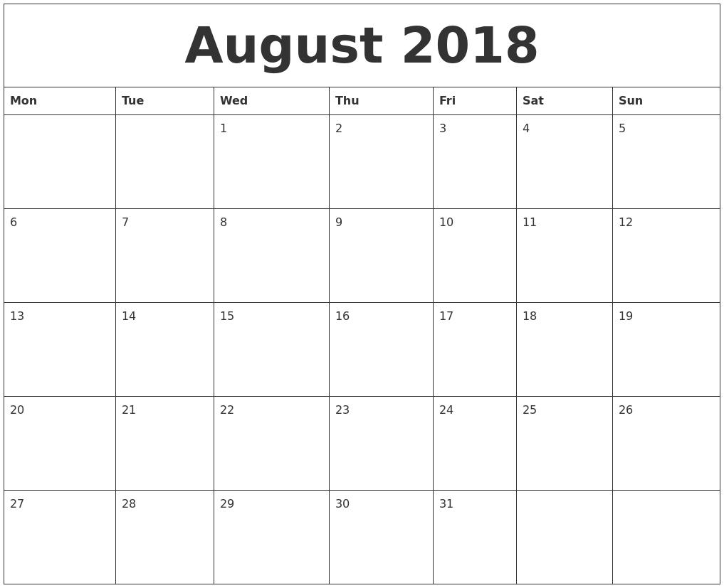 Calendar August 2018 Uk List
