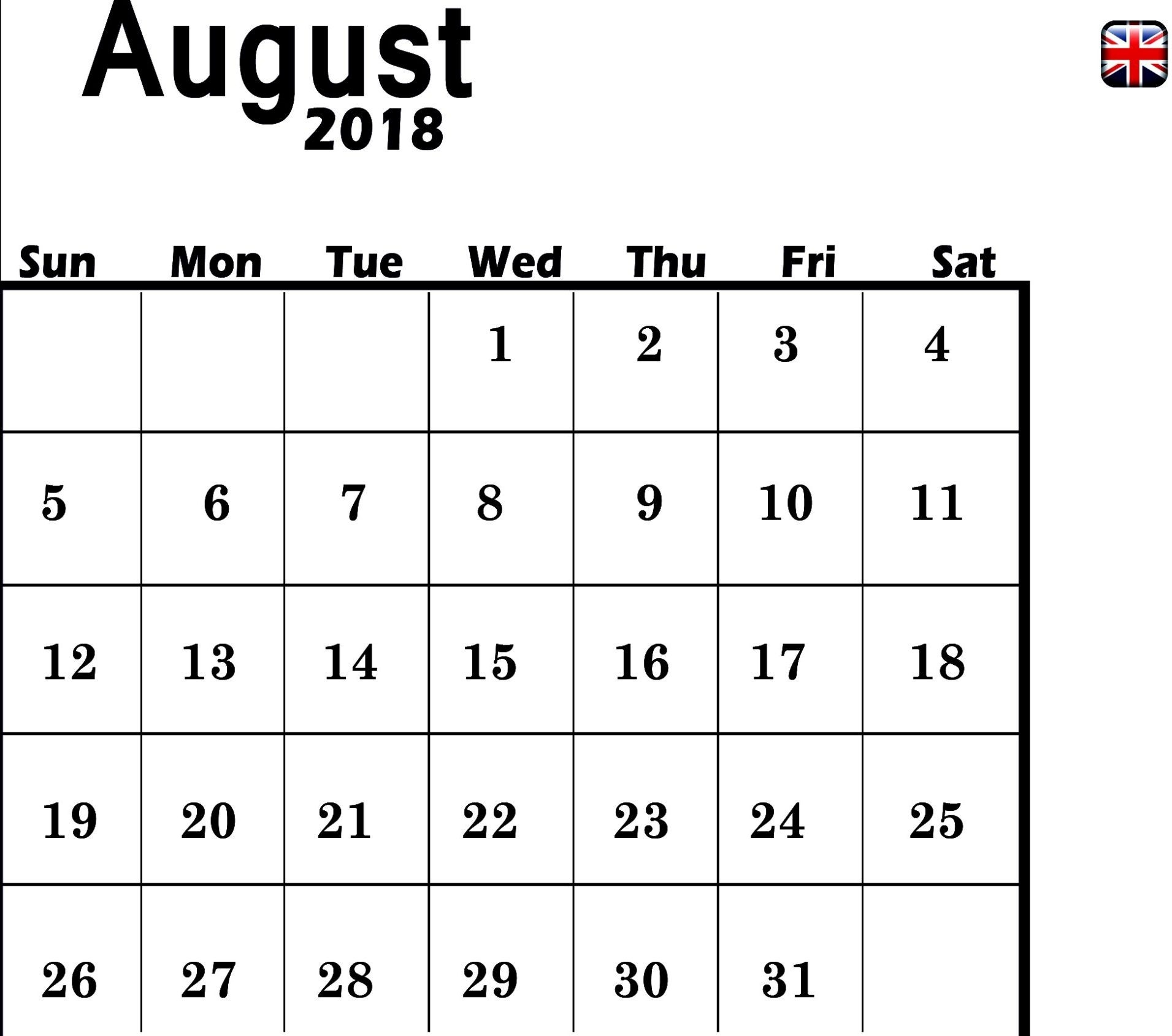 august 2018 calendar for uk printable calendar 2018 template excel Calendar August 2018 Printable Uk erdferdf