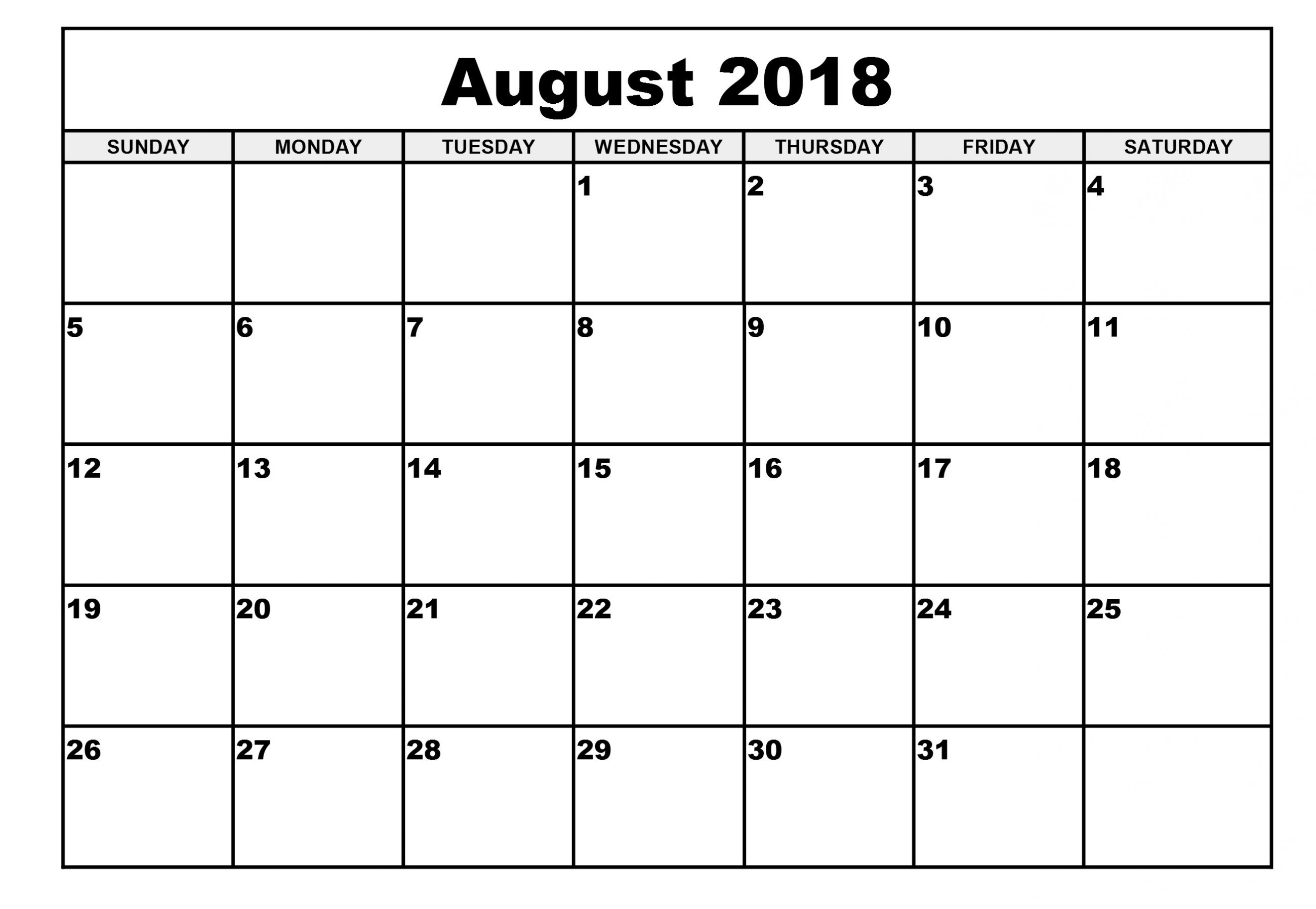 august 2018 calendar monthly calendar template throughout august Printable Monthly Calendar For Aug 2018 erdferdf