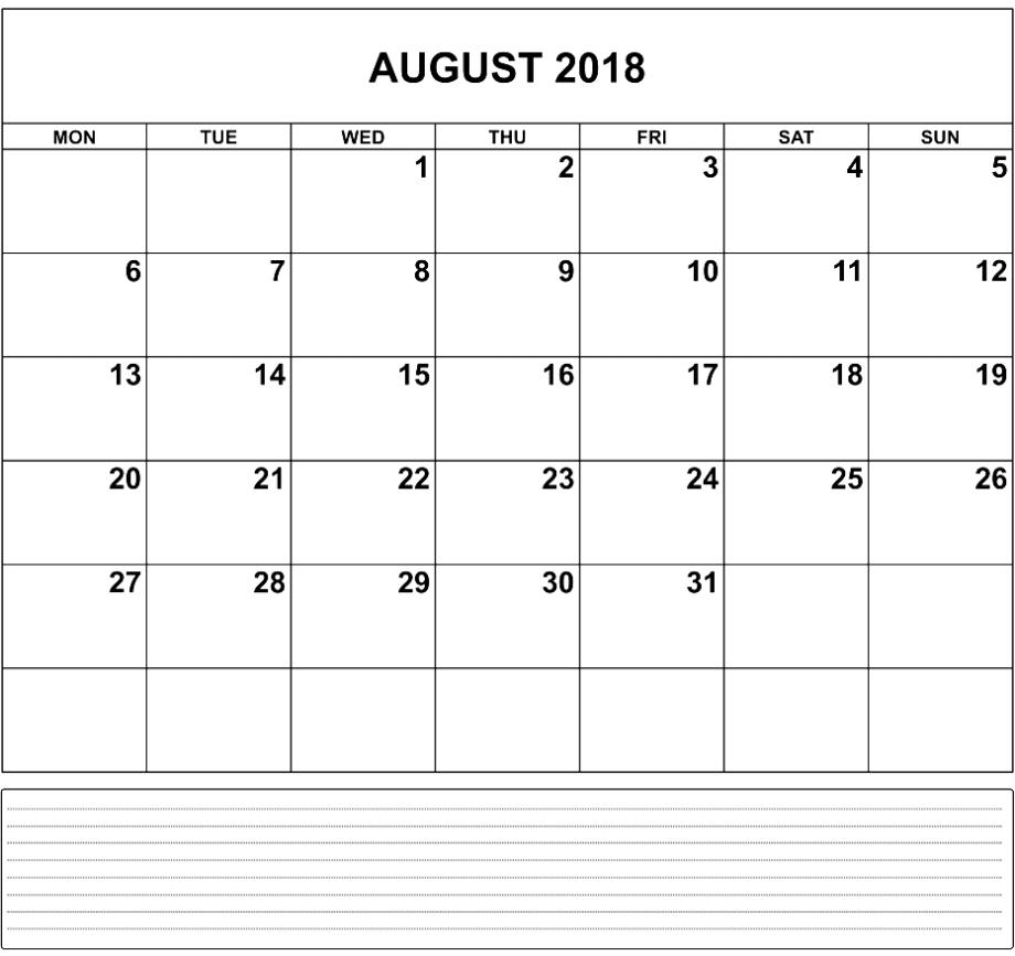 august 2018 calendar notes printable calendar template letter Calendar August 2018 Printable Uk erdferdf