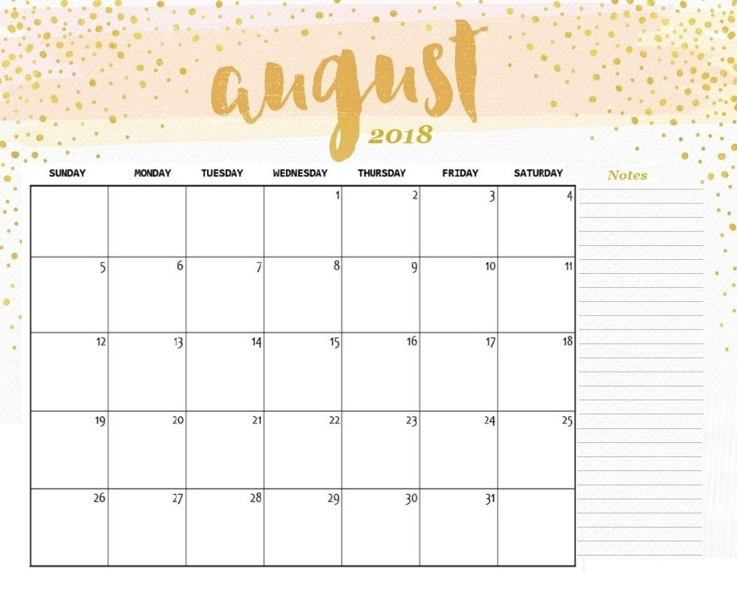 august 2018 calendar printable cute august 2018 calendar Cute Printable Calendar For August 2018 erdferdf