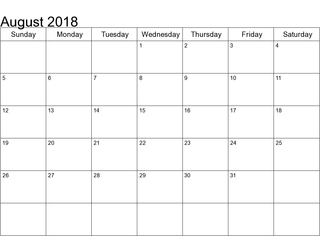 august 2018 calendar printable pdf template free printable Calendar August 2018 Printable Template erdferdf