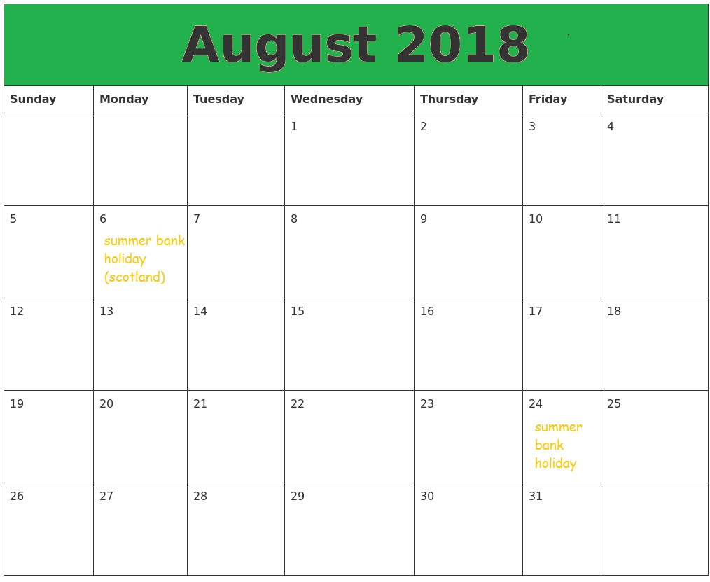 august 2018 calendar uk printable templates letter calendar word excel Calendar August 2018 Printable Uk erdferdf