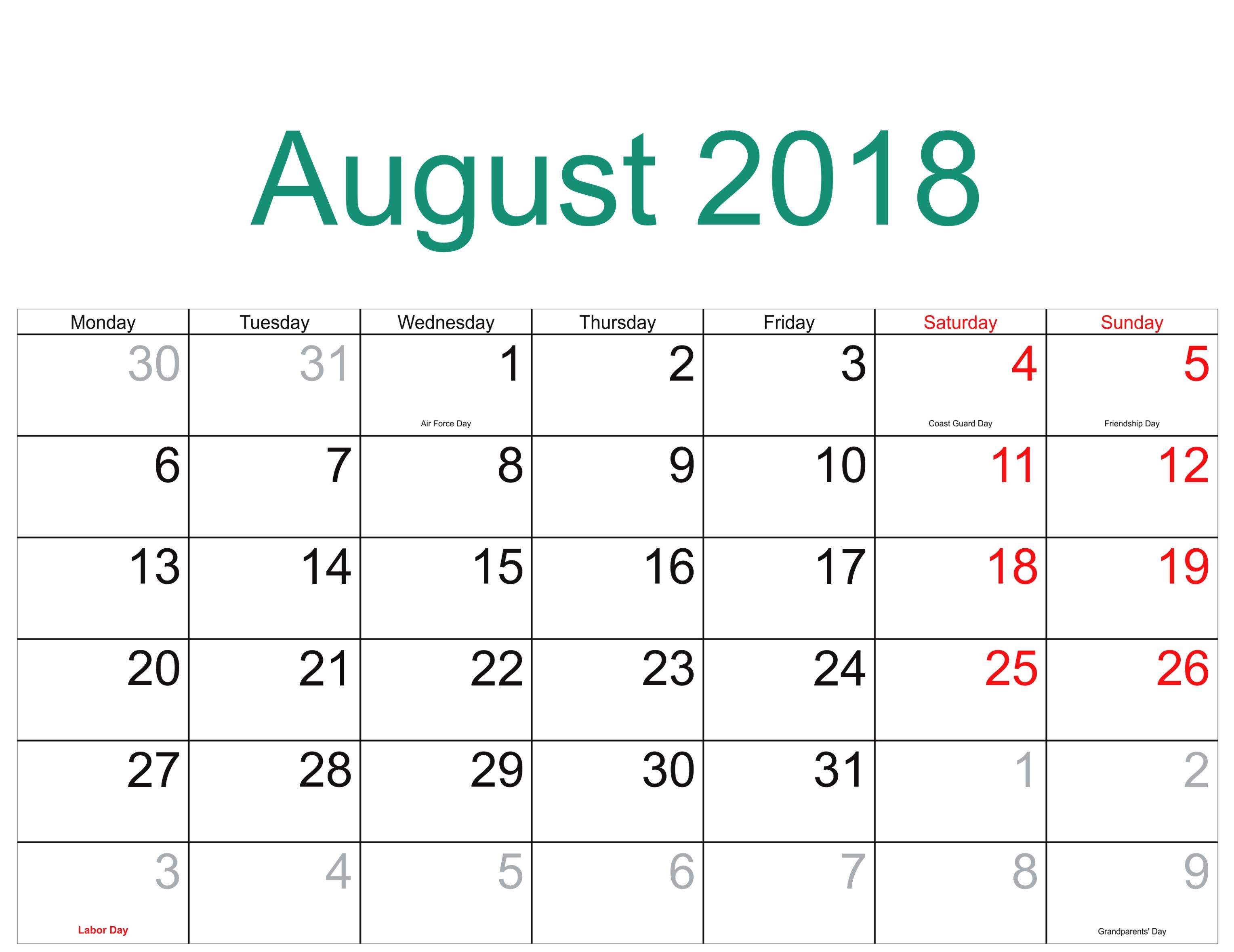 august 2018 calendar us holidays calendar template letter format Calendar August 2018 Printable Uk erdferdf