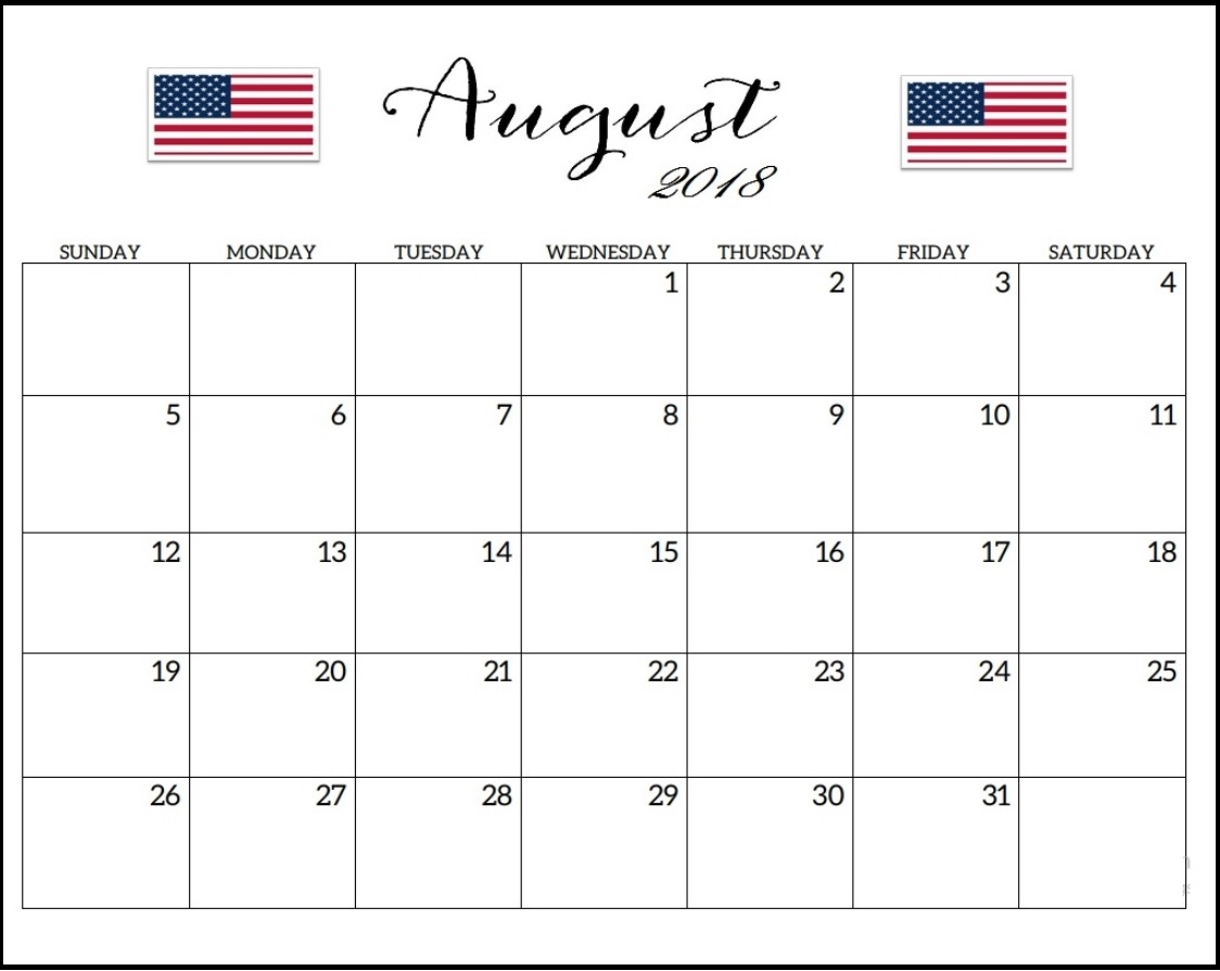 august 2018 calendar usa with holidays Calendar August 2018 Printable Uk erdferdf