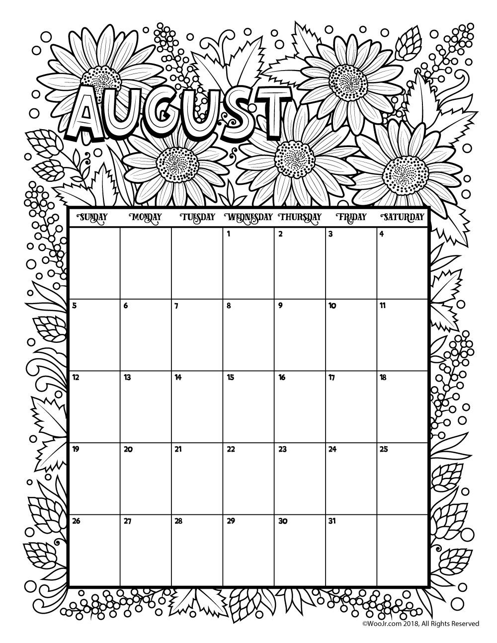 august 2018 coloring calendar page kid activities bullet journals Calendar August 2018 Printable Zodiac erdferdf
