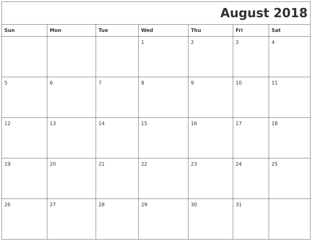 august 2018 download calendar Calendar August 2018 Printable Worksheets erdferdf