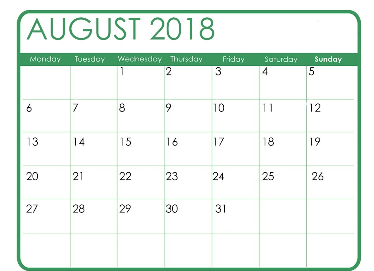 august 2018 free printable calendar business calendar templates Calendar August 2018 Printable Free erdferdf