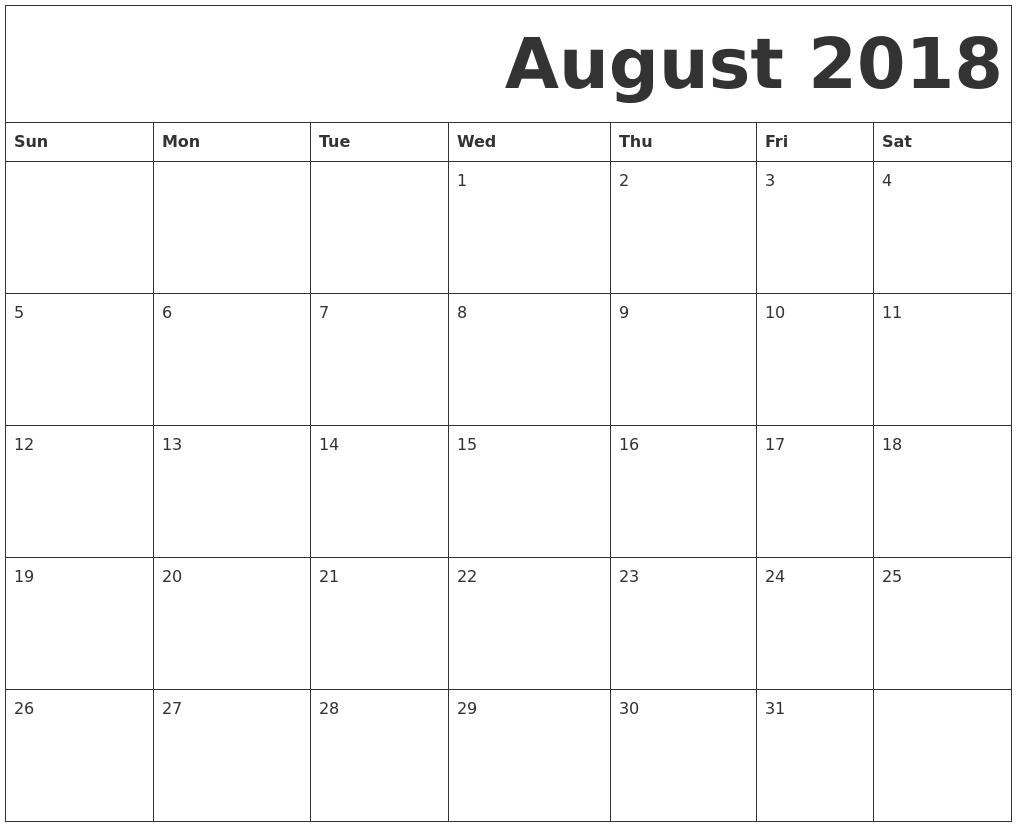 august 2018 free printable calendar Free Pretty Printable Calendars August 2018 erdferdf