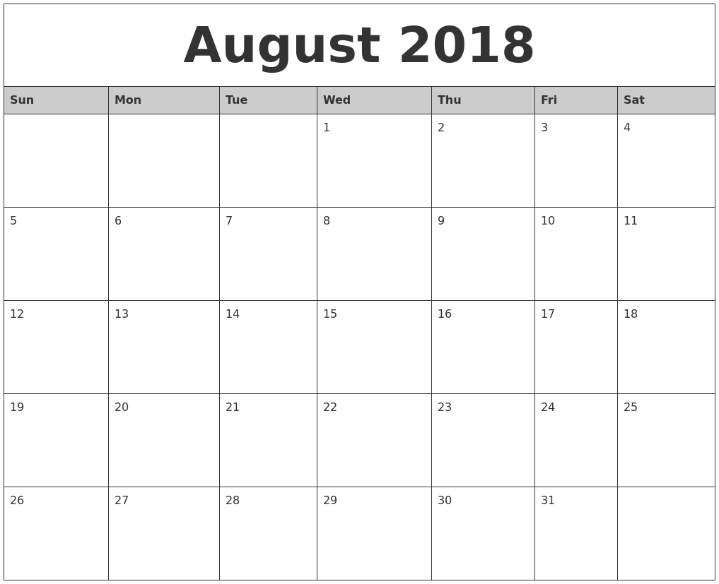 august 2018 monthly calendar printable Agust Month Printable Calendars 2018 erdferdf
