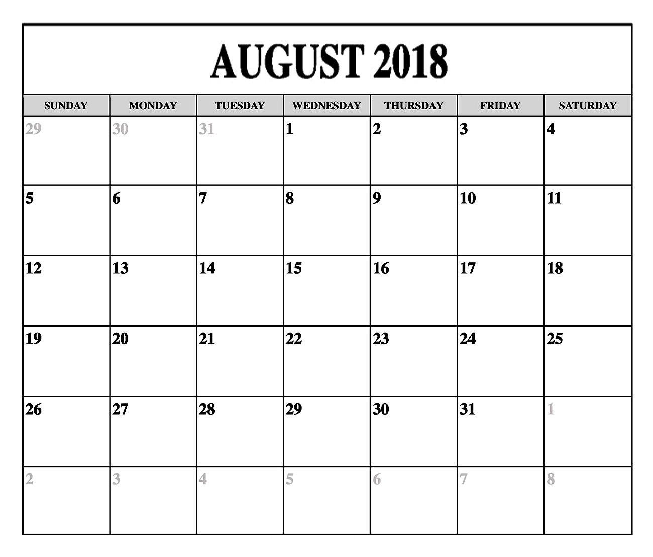 august 2018 monthly calendar printable printable calendar Calendar August 2018 Printable Template erdferdf