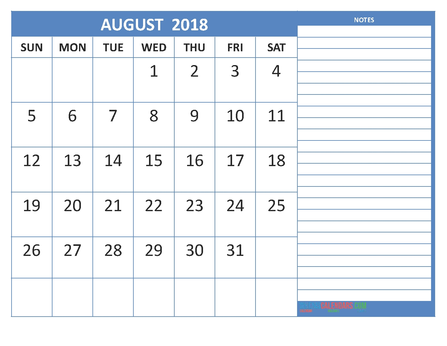 august 2018 monthly calendar printable templates printable Calendar August 2018 Printable Template erdferdf