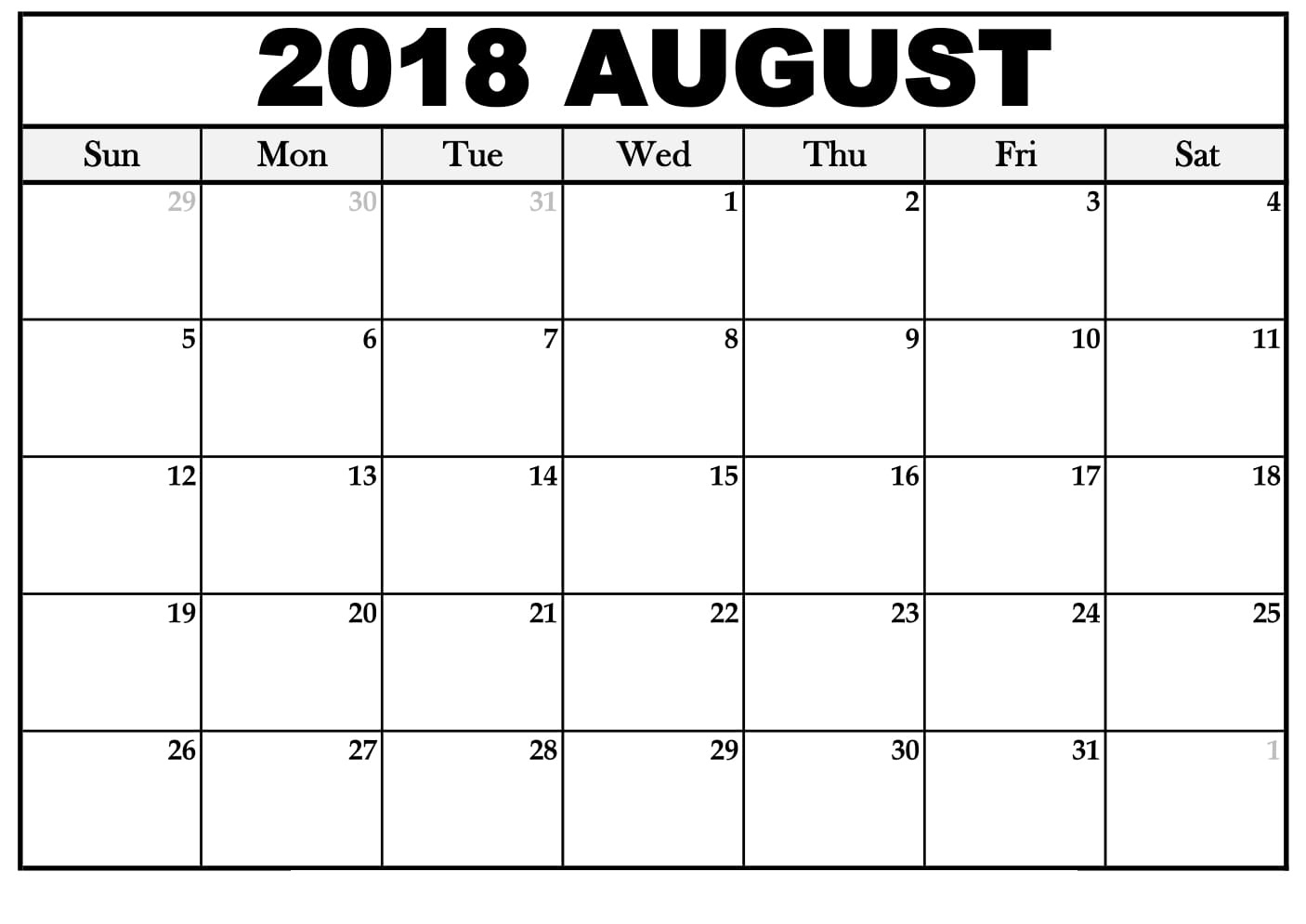 august 2018 monthly calendar with holidays printable calendar template Printable Monthly Calendar For Aug 2018 erdferdf