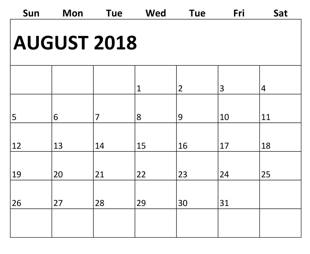 august 2018 monthly fillable calendar printable calendar template Printable Monthly Calendar For Aug 2018 erdferdf