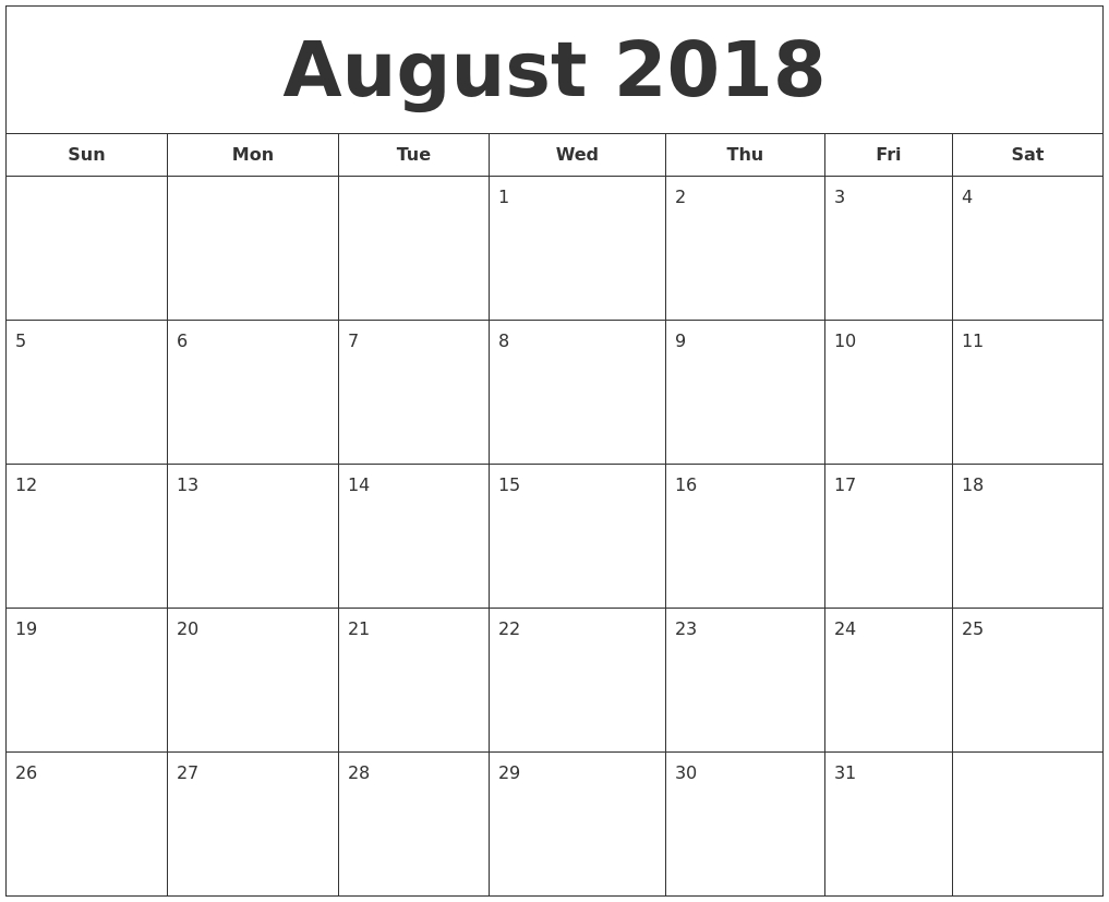 august 2018 printable calendar Calendar August 2018 Printable Schedule erdferdf