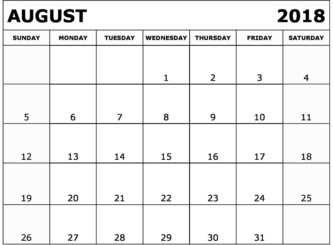 august 2018 printable calendar calendar printable with holidays Blank Calendar Of August 2018 Full Page erdferdf