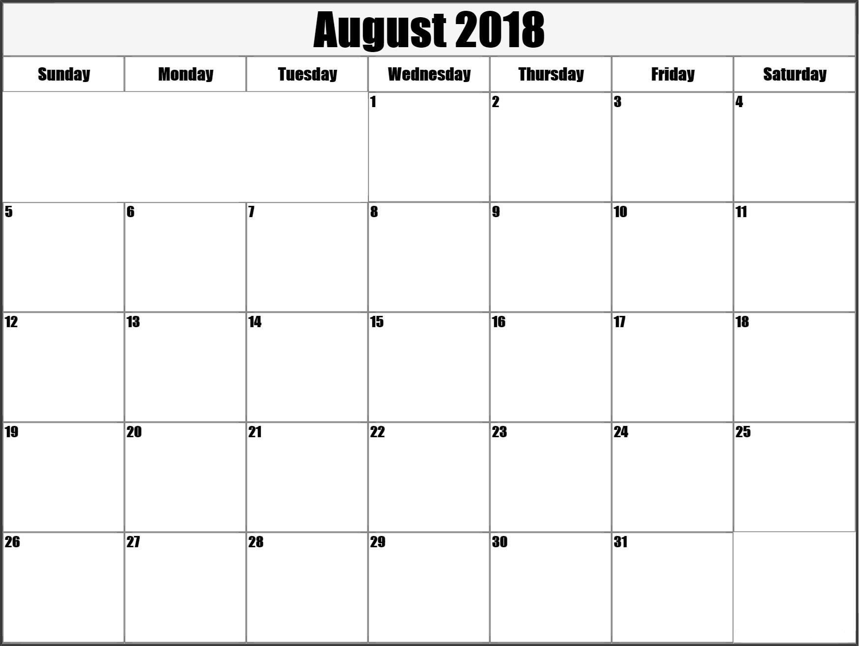 Calendar August 2018 Printable Schedule